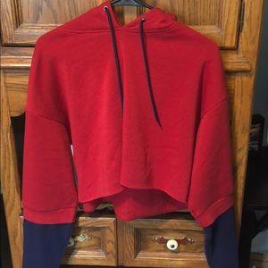 Red and Blue crop hoodie